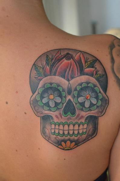 Shoulder Mexican Skull Tattoo by Freaky Colours