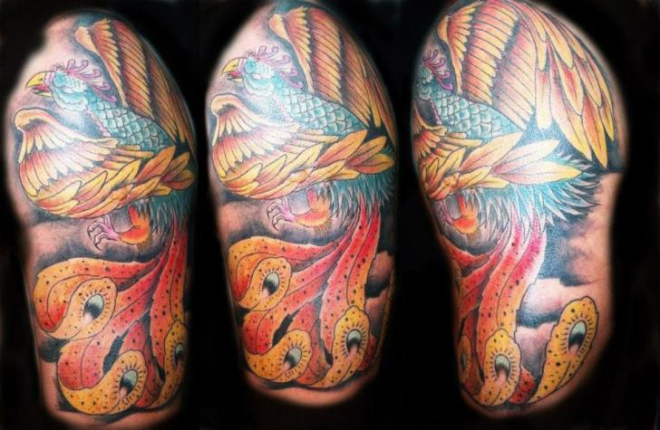 Shoulder Fantasy Phoenix Tattoo by Mandinga Tattoo