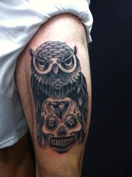 Leg Owl Tattoo by Salo Tattoo