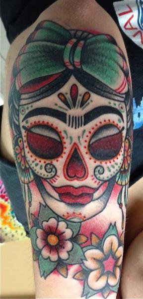 Arm New School Mexican Skull Tattoo by Tattoo Tai
