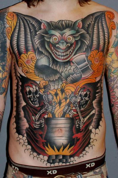 Fantasy Chest Old School Belly Tattoo by Tattoo Tai