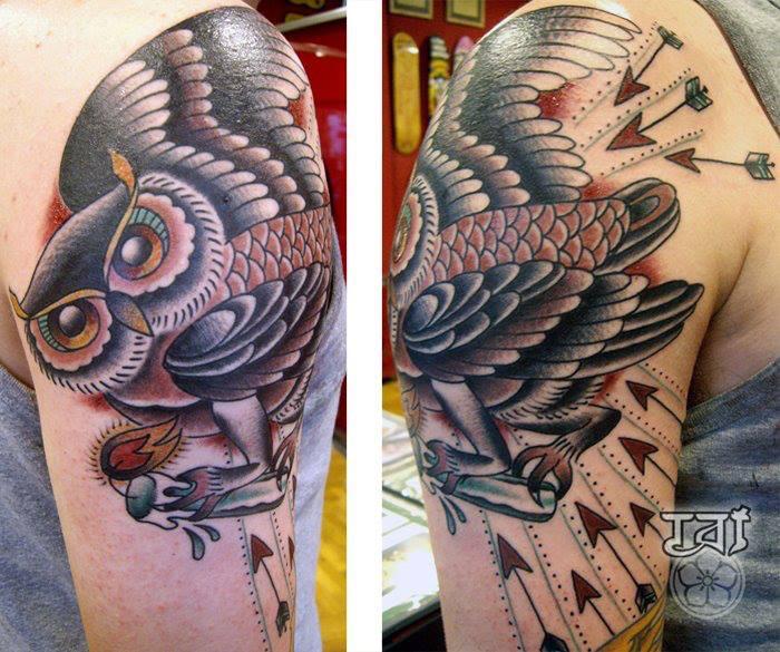 Shoulder Old School Owl Tattoo by Tattoo Tai