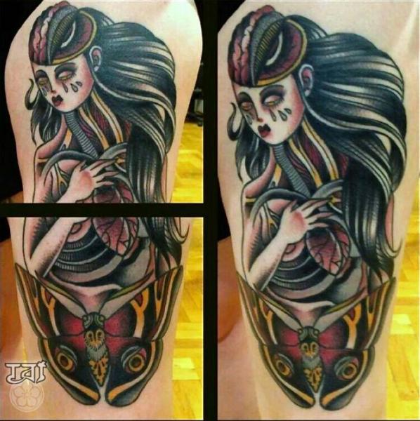 Women Moth Tattoo by Tattoo Tai