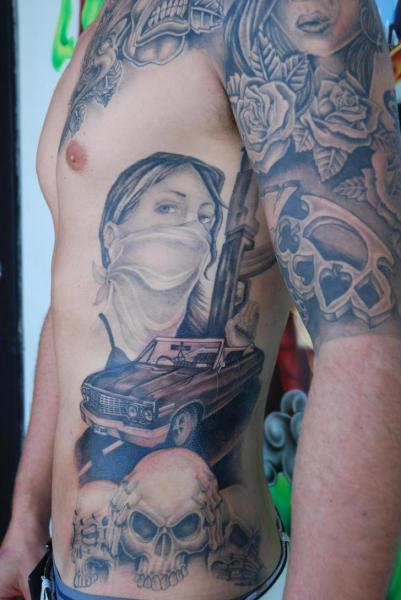 Side Skull Women Gun Car Tattoo by Rand Family Tattoo