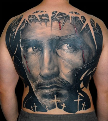 Back Religious Tattoo by James Tattoo Art