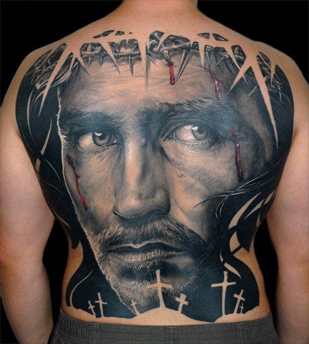 Tatuaje Espalda Religioso por James Tattoo Art