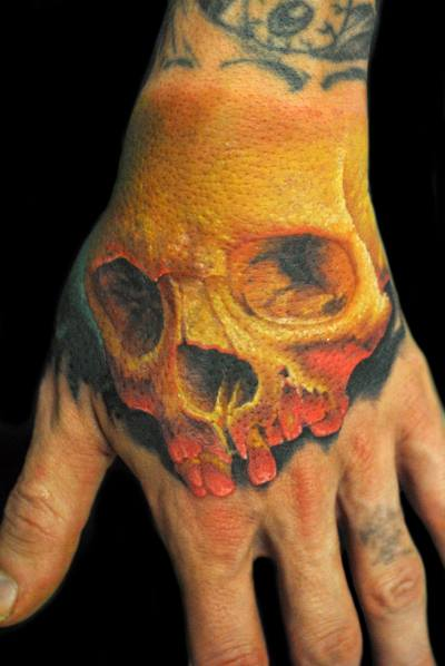 Skull Hand Tattoo by James Tattoo Art