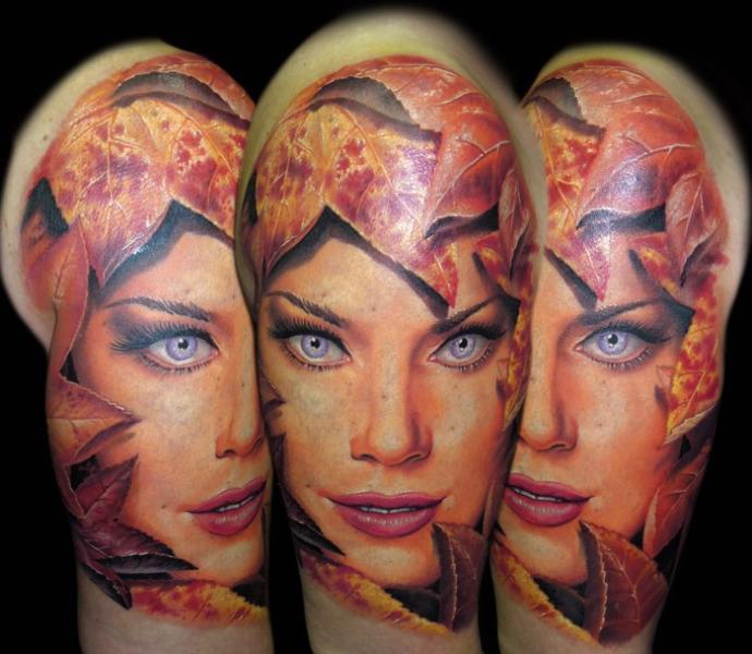 Schulter Fantasie Frauen Blätter Blatt Tattoo von James Tattoo Art