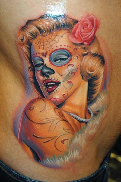 Side Skull Marilyn Monroe Tattoo by James Tattoo Art