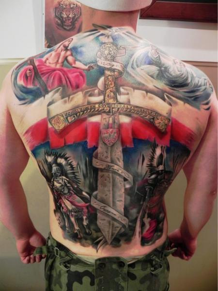 Back Warrior Dagger Tattoo by Rock Ink