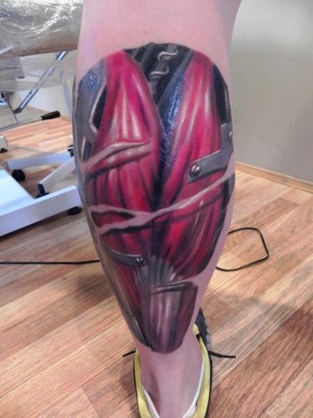 Biomechanical Calf Tattoo by Rock Ink