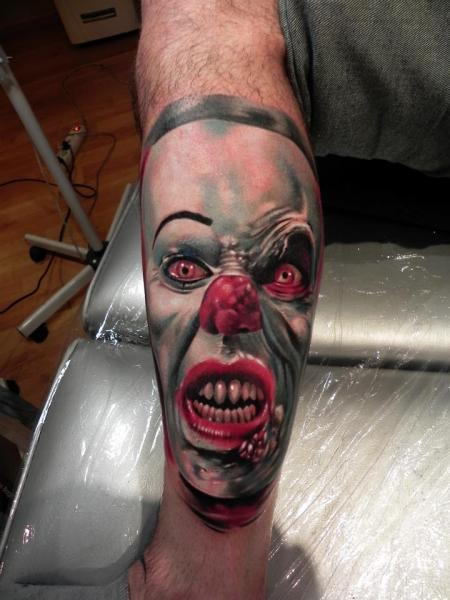 Fantasy Calf Clown Tattoo by Rock Ink
