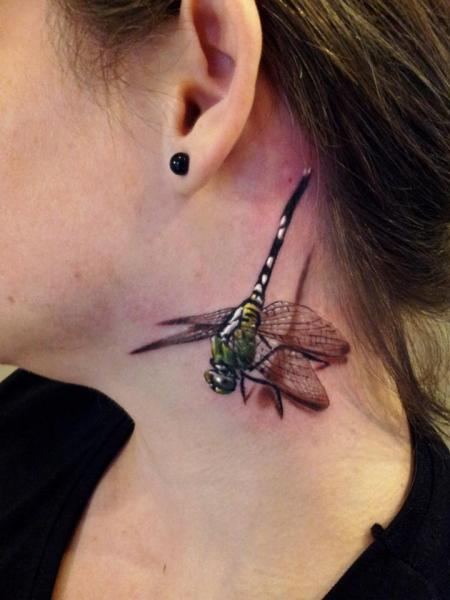 Realistic Neck Dragonfly 3d Tattoo by Rock Ink