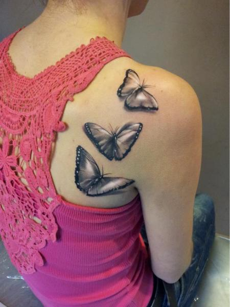 Shoulder Realistic Butterfly Tattoo by Rock Ink