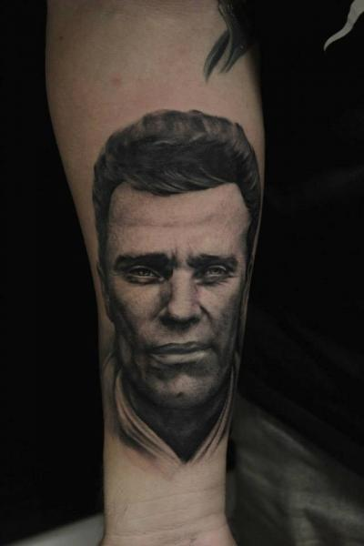 Arm Portrait Realistic Tattoo by No Regrets Studios