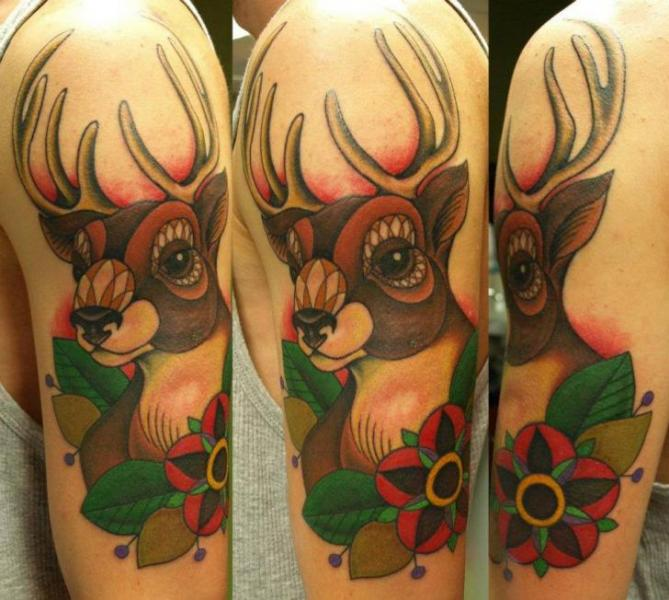 Shoulder Old School Deer Tattoo by No Regrets Studios