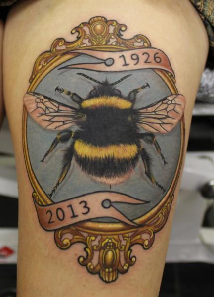 Realistic Bee Medallion Tattoo by No Regrets Studios