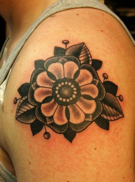 Shoulder Flower Tattoo by No Regrets Studios