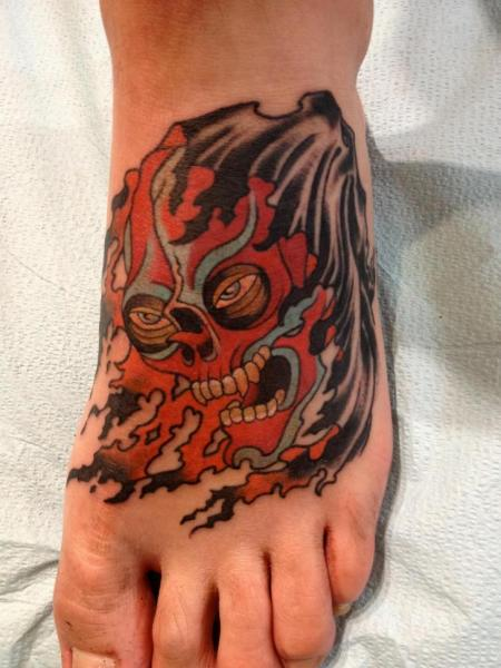 Foot Japanese Demon Tattoo by Seventh Son Tattoo