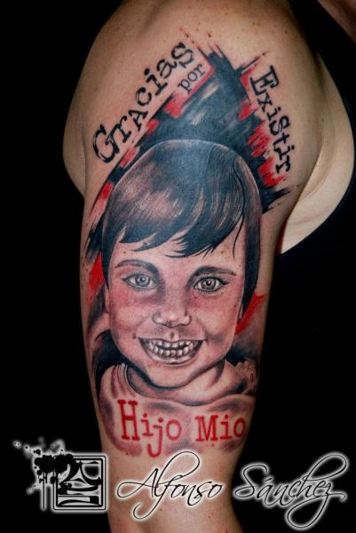Arm Lettering Children Tattoo by Balinese Tattoo