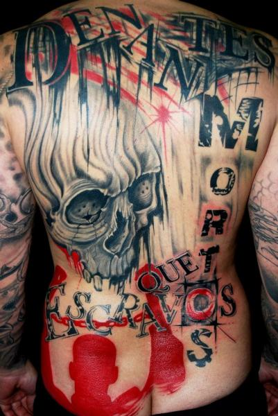 Skull Back Trash Polka Tattoo by Balinese Tattoo