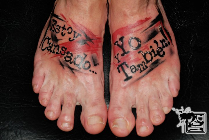 Foot Lettering Trash Polka Tattoo by Balinese Tattoo