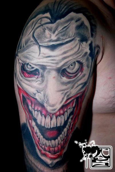 Shoulder Fantasy Clown Tattoo by Balinese Tattoo