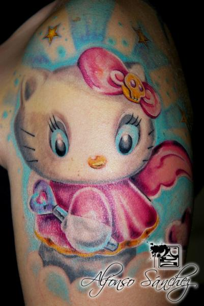 Shoulder Hello Kitty Tattoo by Balinese Tattoo