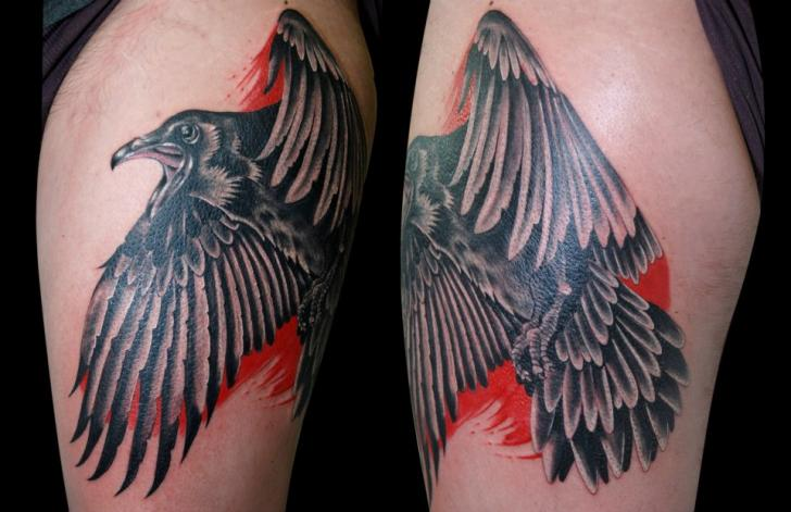 Old School Crow Thigh Tattoo by Balinese Tattoo