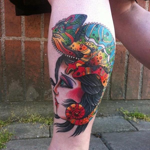 Arm New School Kopf Chamäleon Tattoo von JH Tattoo