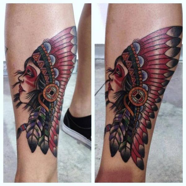 New School Calf Indian Tattoo by JH Tattoo