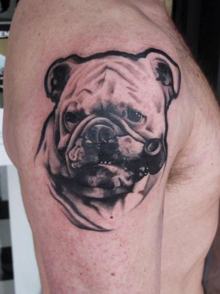 Shoulder Dog Tattoo by JH Tattoo