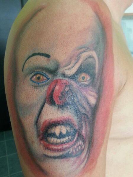 Shoulder Clown Tattoo by Kaeru Tattoo