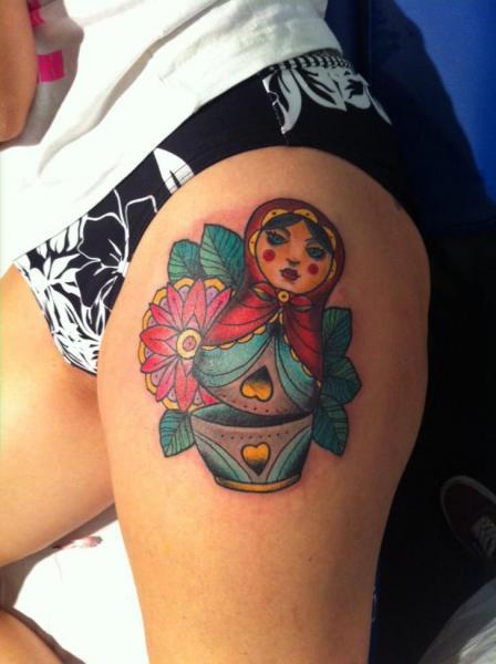 New School Matryoshka Thigh Tattoo by La Mano Zurda