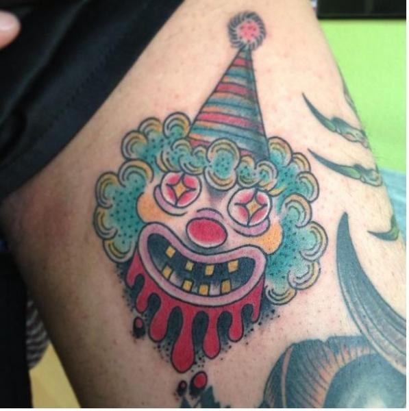 Arm New School Clown Tattoo by Mao and Cathy