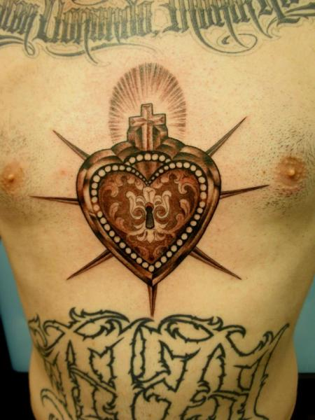Chest Heart Tattoo by Mao and Cathy