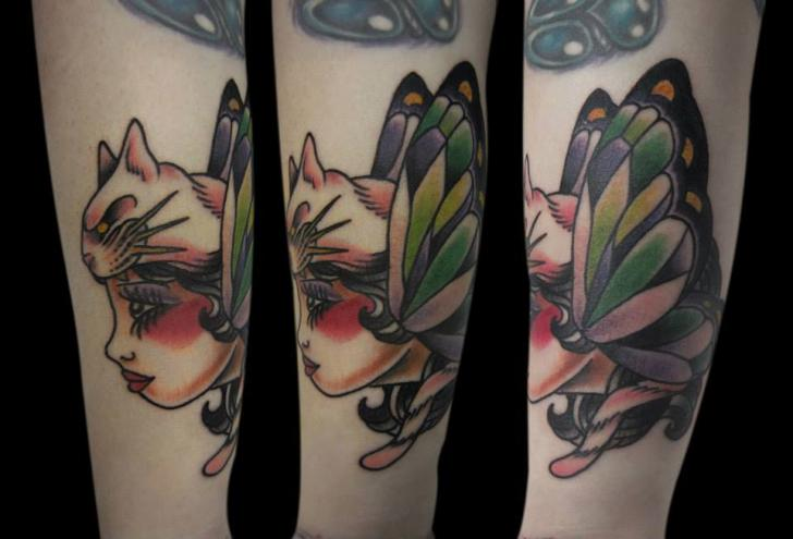 Old School Women Butterfly Tattoo by Mao and Cathy