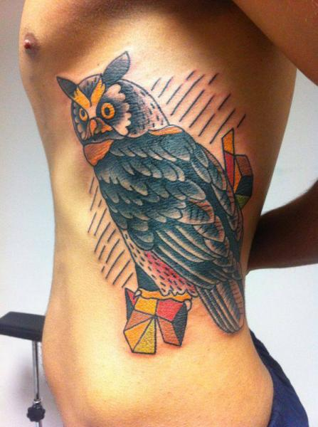 Old School Side Owl Tattoo by Mao and Cathy