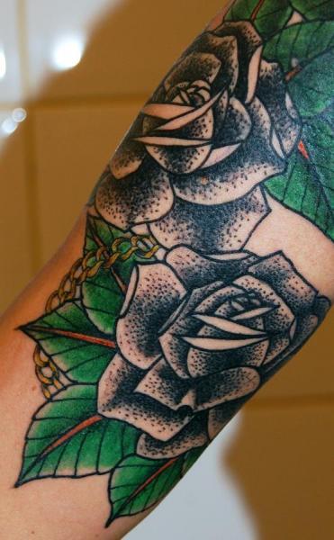 Arm Old School Flower Tattoo by Stademonia Tattoo