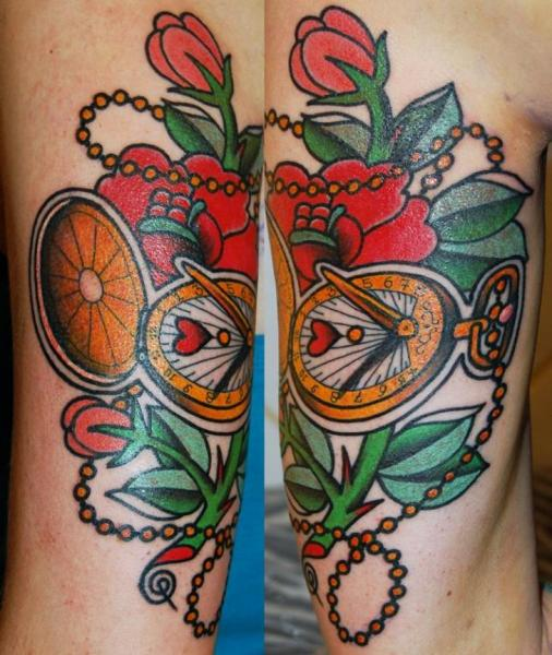 Clock Old School Flower Tattoo by Stademonia Tattoo