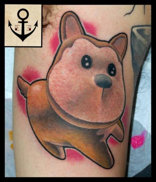 Arm Fantasy Dog Tattoo by Tattoo Blue Cat