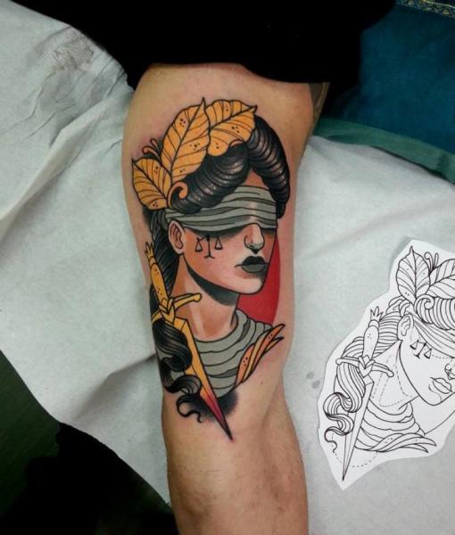 Arm New School Blind Frau Tattoo von Tattoo Blue Cat