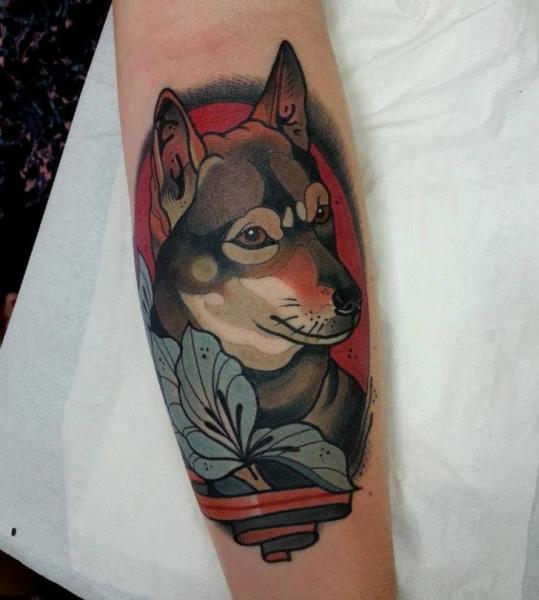 Arm New School Hund Tattoo von Tattoo Blue Cat