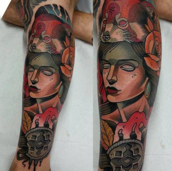 Arm New School Fox Woman Tattoo by Tattoo Blue Cat