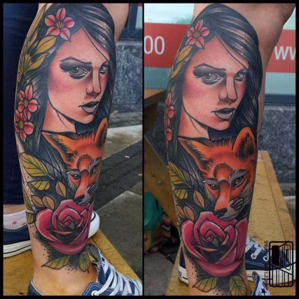 Calf Leg Flower Fox Woman Tattoo by Tattoo Blue Cat
