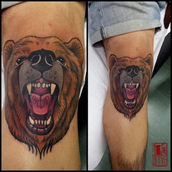 Leg Bear Tattoo by Tattoo Blue Cat