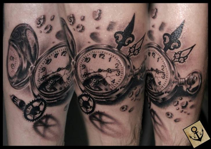 Realistic Clock 3d Tattoo by Tattoo Blue Cat