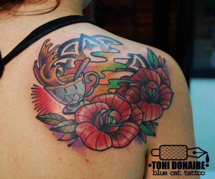Shoulder New School Flower Tattoo by Tattoo Blue Cat
