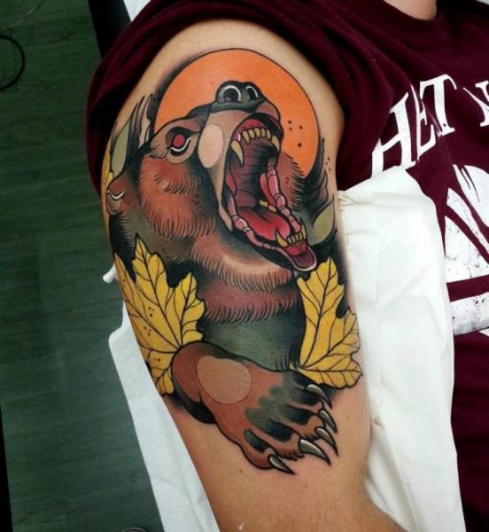 Shoulder New School Bear Tattoo by Tattoo Blue Cat