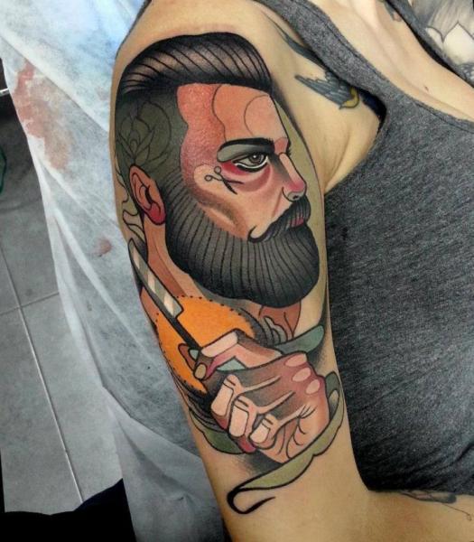 Shoulder Portrait New School Tattoo By Tattoo Blue Cat